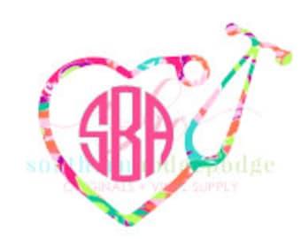 Nurse Heart Stethoscope Monogram SVG file/ SVG design/ svg file/ stethoscope svg/ heart svg/ nurse svg/ silhouette/ stethoscope/ nurse