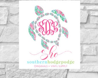 Lilly inspired turtle vinyl decal with monogram/ car decal/ vinyl decal/ lilly/ turtle decal/ turtle monogram decal