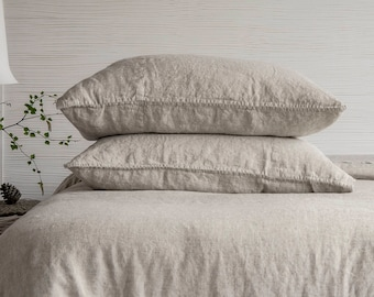 Linen Pillowcase Stone Washed Sham Pillow Case Cover Cushion Super Soft Standard Queen King Euro Pure Natural Organic Flax CHRISTMAS SALES!