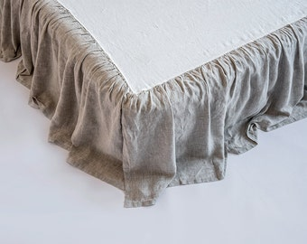 Linen Dust Ruffle Bed Skirt Stone Washed Super Soft Queen King Twin Full Double Natural Organic European 100% Flax Bedskirt CHRISTMAS SALE!