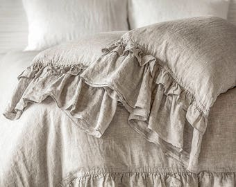 Linen Pillow Case Luxury Stone Washed Super Soft French Rustic Classic Ruffled Sleeping Pillowcase Cover  Shabby Chic CHRISTMAS SALES!
