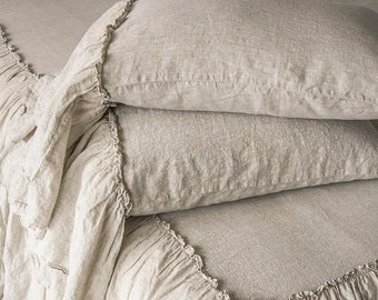 Linen Pillowcases 2 pcs Stone Washed Super Soft With Ruffles 100% European Flax Natural Organic Silky Stone Village Coll. CHRISTMAS SALES!