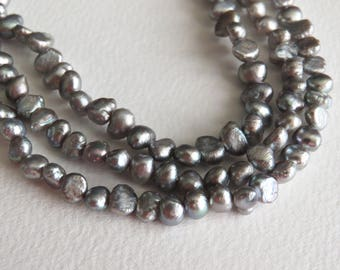 Small freshwater Nugget Pearls. Silver. Approx 4.5m -5mm. 41cm Strand. Baroque Seed Pearls.