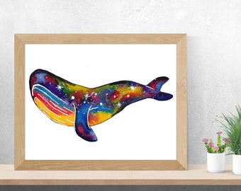 Watercolour Stella the Space Whale - Art Digital Download