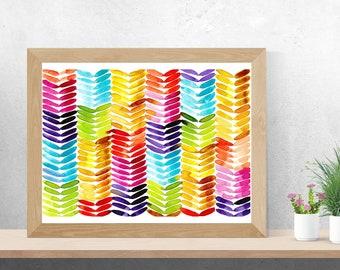 Watercolour Bright Rainbow Knit Stitch Pattern - Art Digital Download