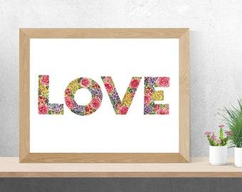Watercolour LOVE Floral Pattern - Art Digital Download