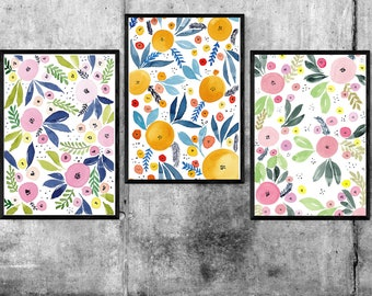 3 Watercolour Abstract Floral Patterns - Art Digital Download
