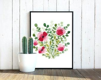 Watercolour Poppies & Eucalyptus  - Art Digital Download