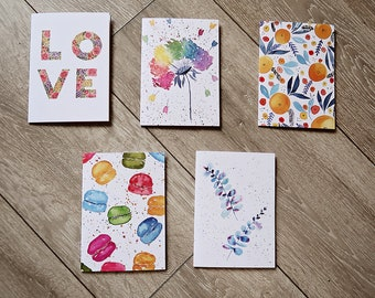 Set 9 - Pack of 5 - Watercolour Pattern Greeting Cards - A6 sized Blank Cards