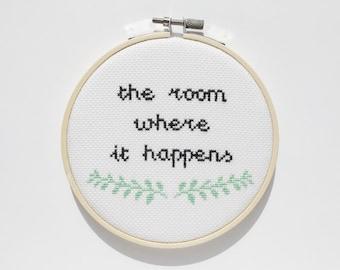 Hamilton Cross Stitch, The Room Where It Happens, Hamilton Musical, Fandom, Broadway, Wall Decor, Office Decor, Inspirational Art, Quote