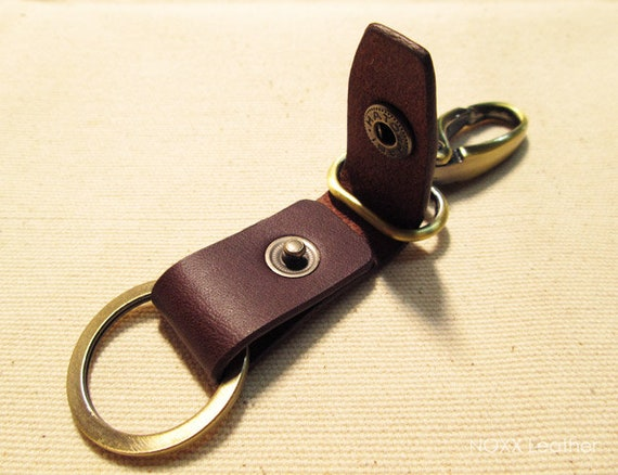 Men Women Vintage Tanned Leather House Keyring Key Chain Rings Keyfob Belt Clip