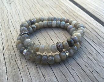 Labradorite & Diamond CZ Pave Bracelet, Diamond Grey Bracelet, Vegan Bracelet, Stackable Bracelet, Stretch Bracelet, Boho Bracelet