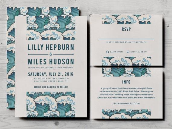 Japanese Wedding Invitation Set Including Formal Rsvp And Information Card Ocean Waves Design Teal And Cream