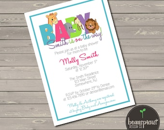 Jungle Baby Shower Invitation - Baby Shower Invitation - Gender Neutral Baby Shower - Baby Safari Shower - Baby Jungle - Printed Invitation