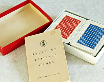 Vintage cards set, playing cards, Patience, miniature cards, twin pack, made in England, Thomas De La Rue,  Patience Games brochure