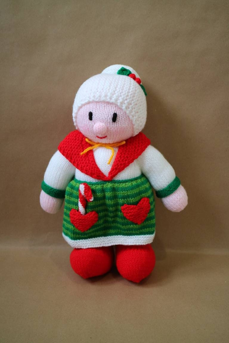 Mrs Claus Knitted Decoration Christmas Knit Wool Santa Etsy