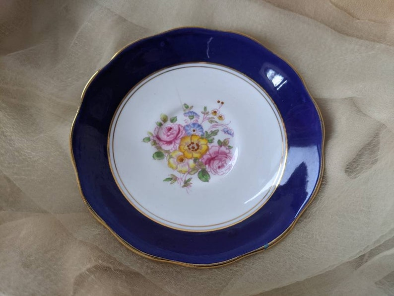 vintage antique Royal Albert Crown china saucer dish plate cobalt blue gold trinket floral flower English cottage country hand painted decor