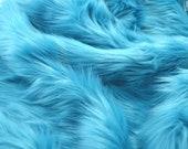 Turquoise faux fur 2 quot pile, blue faux fur, turquoise fur fabric craft squares, turquoise fursuit fur, turquoise shag fur, turquoise fur