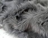 Gray faux fur 2 quot pile, gray craft squares, fursuit fur, long pile faux fur, gray shag fur, gray faux fur, gray fur, fake wolf, gray wolf fur