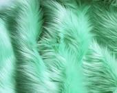 Mint green faux fur 2 quot pile, mint fur fabric craft squares, pale green fur, mint fake fur, pastel green faux fur, mint shag fur, mint fabric