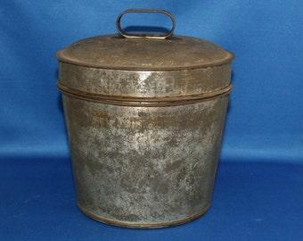 Vintage Primitive Tin Pudding Mold Circa 1900's Tin Mould Steam Mold Pail Bucket Country Kitchen Homestead Home Decor Metalware Antique