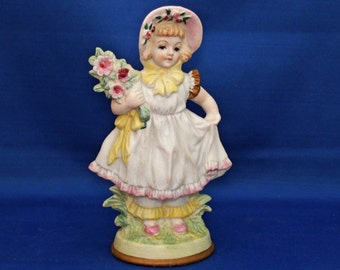 Vintage Country Girl Figurine Made in Occupied Japan Hand Painted Bisque child with bouquet, girl with flowers Figure Ceramic Knick Knack