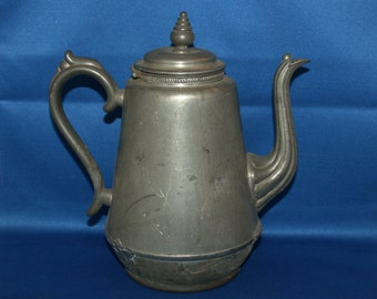 Rare Antique E.B. Manning Pewter Coffee pot 1862 Civil War Era Patent Britannia Teapot Tin Metalware Tea Pot Shabby Chic