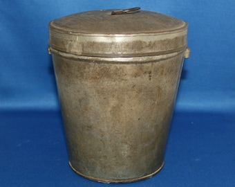 Vintage Primitive Tin Pudding Mold Circa 1900's Tin Mould Steam Mold Pail Bucket Country Kitchen Homestead Home Decor Metalware Antique