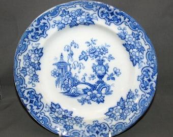 Antique Blue Transferware Plate John Alcock Celeste Pattern Cobridge England Stoke-on-Trent Ironstone 10 1/2 Inch Cabinet Plates Flow Blue