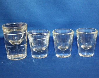 Vintage Signed Libbey Shot Glass 3 #23 1 ounce & 1 #11 2 ounce group of 4 Whiskey Shot Glasses Bourbon Bar Collectible Barware Memorabilia
