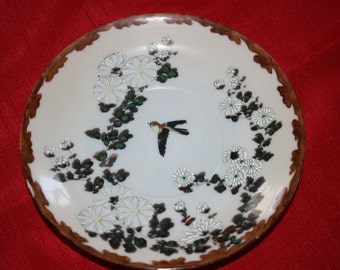Vintage Oriental Plate Botanical Bird Shallow Bowl Chinese Asian Hand Painted Cabinet Plate Collectors Plate Antique