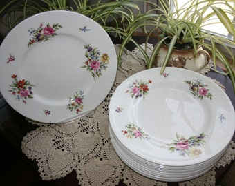 Vintage Royal Worcester Floral Dinner Plate Fine Bone China Set of 12 Plates Charger Cabinet Plate Tableware Made in England