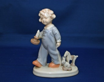 Vintage Porcelain Little Boy with Candle and Pull Toys Figurine Lladro Style Ceramic Figure Knick Knack