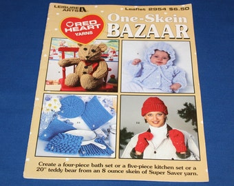Vintage Red Heart Yarns One Skein Bazar Pattern Pamphlet Crochet Book How to Instructions Patterns Crocheting Projects Leaflet Knitting Knit