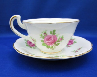 Vintage Vanderwood Bone China Tea Cup and Saucer with Pink Cabbage Rose Pattern, Made in England English Tea Party