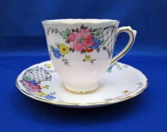 Vintage Tuscan Bone China Tea Cup and Saucer with Floral Spray and Lattice Hand Accented 7501 England demitasse espresso English Tea Party