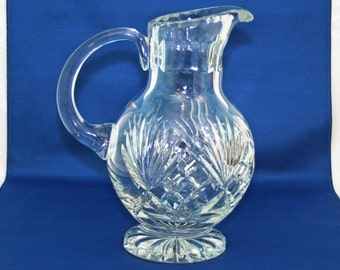 Vintage POLONIA Crystal Ball Pitcher Made in Poland Heavy 24 % Lead Crystal Footed Ball Pitcher Water Table Pitcher 1950's Tableware