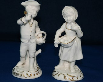 RARE Vintage Goebel Hofgarten White and Gold Garden Boy and Girl Figurines 1979  12-200-14 / 12-203-14 Ceramic Figures Figurine Knick Knack