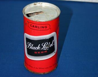 Vintage Carling Black Label Beer Can Unique Pull Tab Steel Beer Can Bar Memorabilia Breweriana Collectible Advertisement Barware Ephemera