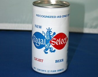 Vintage New Regal Select Light Beer Can Aluminum Opened Pull Tab Bar Memorabilia Barware Collectible Breweriana Advertisement Ephemera
