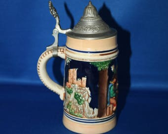 Vintage Simon Peter Gerz Stoneware German Beer Stein Hand Painted Pewter Lid Stamped Tankard Fabrikmarke Breweriana Bar Collectible Barware
