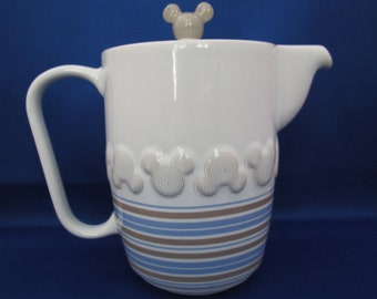 Vintage Mickey Icon Teapot Disney Park Dining Service Piece Porcelain Tea Pot Coffee Art Deco Souvenir Collectible