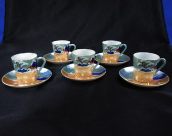 Antique Lusterware Teacup and Saucer Demitasse Cup Tea Cup Japan Set of 5 Hand Painted Country Scene in Teal Gold and Blue Japanese Vintage