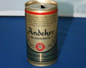Vintage Anderker of America Beer Can Supreme PABST Steel Pull Tab Opened Empty Bar Memorabilia Barware Collectible Breweriana Advertisement