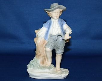 Vintage Porcelain Lego Figurine Boy Harvesting Wheat Made in Japan Lladro Style Figure Knick Knack
