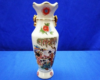 Vintage Japanese Geisha Girl Decorated Satsuma Pottery Vase – Bud Flower Vase Knick Knack Collectible