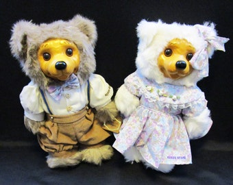 Vintage RARE Robert Raikes Alec and Allison Picnic Bears 1715 & 3184 of 7500 COA by Applause wood sculpture 1992 Collectible Bear