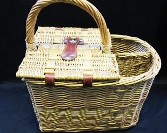 Vintage Lined and Lidded Wicker Picnic Basket with separate 2-Wine Bottle Holders with Clasp Lock extras Date Night gift giving Road Trips