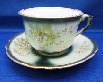 Antique Teacup Hand Painted Yellow Florals Tea Cup and Saucer Marked France Demitasse Cappuccino Espresso English Tea Party Vintage