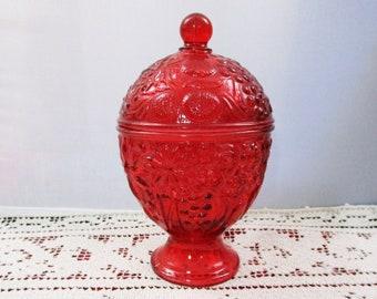 Vintage Avon Red Glass Egg Shaped Pedestal Lidded Dish Ruby Flashed Collectible Glass Floral Embossed Trinket Jar Candy Nut